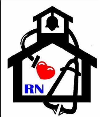 Clip Art with school, RN, and heart for school nurses